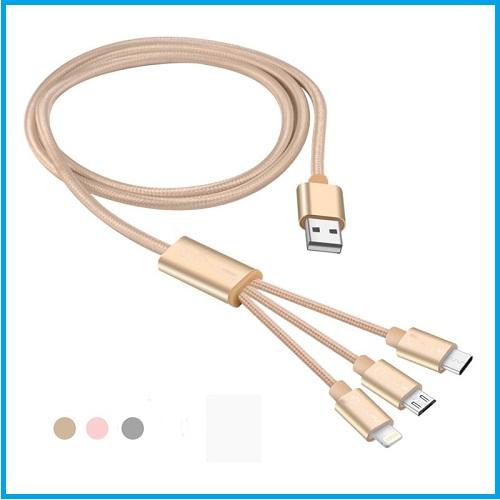 Cable trenzado 3 en 1 usb para móviles rosa