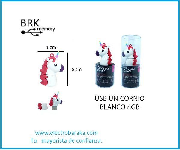 Memoria USB Unicornio 8GB blanco